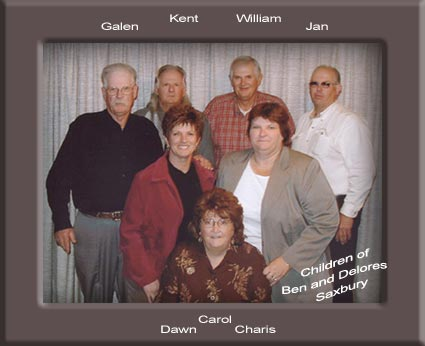 Carol, Dawn, Charis, Galen, Kent, William, Jan Saxbury